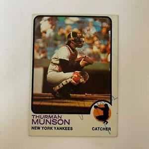 Thurman Munson Signed Autographed 1973 Topps Baseball Card With JSA COA Yankees