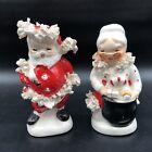 Vtg Napco Ceramics Japan Santa Mrs. Claus Salt Pepper Shaker Set Spaghetti Trim