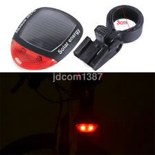Solar Energy Rechargeable Commuter Red LED Bike Bycicle Rear Tail Flash Light UK