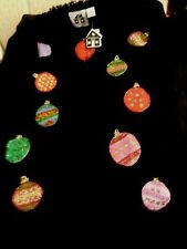 STORYBOOK KNITS FAB NEW NWT WOMENS CHRISTMAS SWEATER BLACK M FRINGE ORNAMENTS