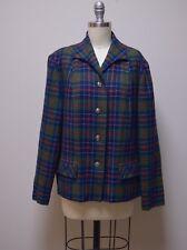 Vintage 1940s PENDLETON 49er Blue Green Plaid  Wool Jacket Shirt Blazer Size M/L