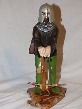 WOOD CARVED CROSSBOWMAN SCULPTURE FIGURE BY FRANK & SHIRLEY LYON 1980 ITALIAN