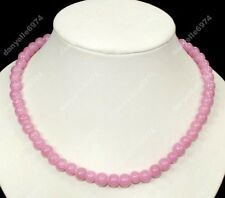 VINTAGE chic PINK 8mm GLASS BEAD NECKLACE retro