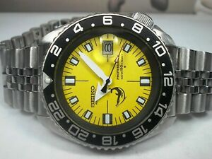 LOVELY SEIKO DIVER 7002-700J AUTOMATIC MEN'S WATCH YELLOW SOXA MODDED 210708