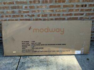 Modway Region Upholstered Queen Panel Headboard in Smoke