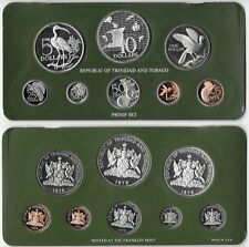 TRINIDAD & TOBAGO Proof Set 1979 Franklin Mint With Silver $5 and $10 Dollars