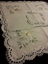 """33""""Square Embroidered Christmas Tablecloth Candle Bell Topper Holiday Home Decor"""