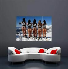 GIRLS BABE BABES ASS ARSE SKI SKIING SNOW NEW GIANT WALL ART PRINT POSTER OZ241