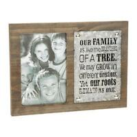 """Family Photo Frame Vintage Wood And Metal Design 4 x 6"""" Photo Frame Boxed 65440"""