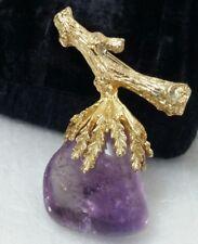 Vintage Swoboda Flower Branch Amethyst Gem Stone Textured Gold Toned Pin Brooch