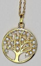 Halskette Lebensbaum vergoldet mit Zirkon-Steinen in Geschenkverpackung