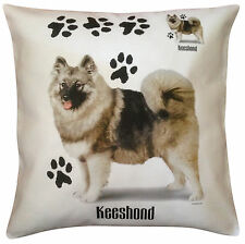 More details for keeshond paws breed of dog cotton cushion cover - perfect gift