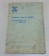 Teilekatalog Ersatzteilliste Sachs Motor 504/1 A, 504/1 B Ausgabe Dezember 72