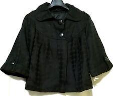 Black Peter pan collar textured cape coat