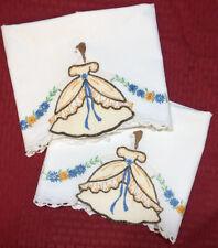 Vintage Embroidered & Appliquéd~SOUTHERN BELLE~Pillowcase Set