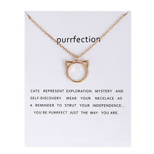 Purrfection Cat Ear Pendant Long Chain Necklace