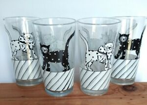 Vintage Black & White Cat Tumblers Drinking Glasses 14oz Set of 4