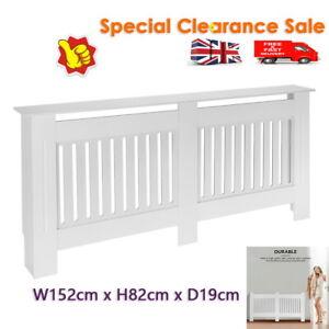 152cm Large Radiator Cover MDF Wood Slat Grill Guard Top Shelf Cabinet White