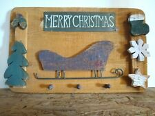 Merry Christmas Wood Plaque Wall Hanging Key Holder