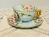Vintage Light Blue Pink Flowers Gold Handle Trim Bone China Tea Cup & Saucer 50s