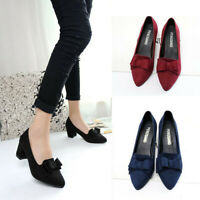 Womens Bowknot Suede Thick High Heels Casual Pointed Toe Fashion Shoes