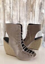 $195 Rebecca Minkoff Elle Lace Up Wedge Bootie Sandals Beige Sand 8 RARE!