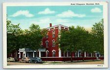 Postcard MI Manistee Michigan Hotel Chippewa c1940s AF8