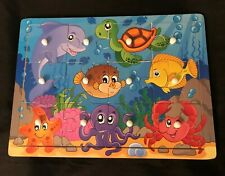 Ocean Fish 12 pc Wood Peg Puzzle 9 x 12 Educational Wooden Toy