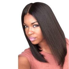 Fashion Medium Straight Middle Part Black Women's Hair Wig Bob Full Wigs