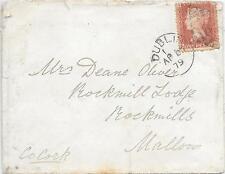 GB(QV)COVER 1/4/1879;SG43 PLATE 193 FG DUBLIN - MALLOW; PARTIAL DUPLEX 186.