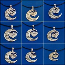 'I LOVE YOU TO THE MOON AND BACK' black LEATHER necklace, 60+ Family variations