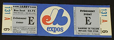 "VINTAGE - MONTREAL EXPOS - MLB - JARRY PARK - BASEBALL UNUSED TICKET - EVENT ""E"""