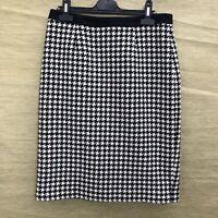 HOBBS Black & White Houndstooth Wool Blend Pencil Skirt UK 10 Work Office Wear
