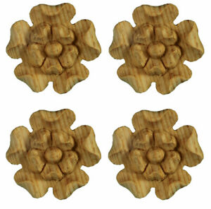 Small Yorkshire Rose Wood Onlay Appliques - Set of 4 Hand Carved in Pine- PNX425