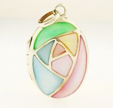 Sterling Silver Mother Of Pearl Locket (18x24mm)