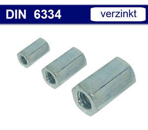 Langmutter Distanzmutter Gewindemuffe Sechskantmutter lang - Stahl verz DIN 6334