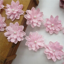 10X Pink Flower Pearl Lace Trim Wedding Ribbon Embroidered Applique Sewing Craft