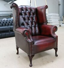 CHESTERFIELD ARTHUR QUEEN ANNE HIGH BACK WING CHAIR VINTAGE RED OXBLOOD LEATHER