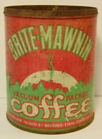 Old Vintage 1930s BRITE-MAWNIN COFFEE TIN GRAPHIC 1 ONE POUND ST. LOUIS MISSOURI