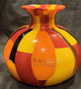"Vibrant Murano  Italy Art Glass Signed Vase by A Ballarin Murano Preowned 5"""