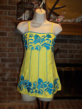 Boston Proper Floral Mexican Inspired Embroidered Top Blouse Yellow Teal  XS 0