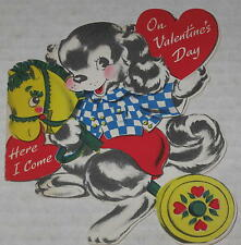 """1950's """"On Valentine's Day Here I Come"""" Signed Puppy Theme"""