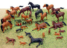 Scale HO 1:87 Figures Animals HO Horses and  Foals 30 Pieces 15 Styles