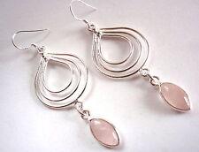 Rose Quartz Earrings Marquise Dangle with Triple Hoop 925 Sterling Silver Dangle