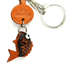 Red Snapper Handmade 3D Leather Animals Keychain *VANCA* Made in Japan #56307