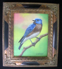 Blue Bird 3, Wild Life, Original Oil Painting, Signed, Framed, Wall Art, Deco