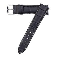 20mm Hadley-Roma MS834 Mens Black Alligator-Grain Leather Watch Band Strap