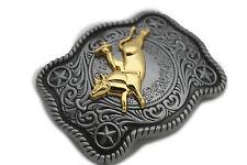 New Men Women Belt Buckle ANtique Silver Metal Western 3D Rodeo Gold Bull Rider