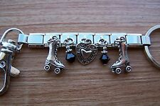 Handcrafted Skate Roller Derby Skates and Heart Charm Key Ring