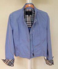 BURBERRY LONDON Crop Moto Jacket Mandarin Collar Blue Size 10~ Preowned~ Perfect